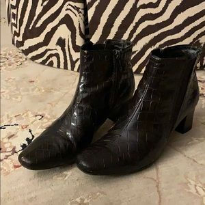 Well-loved Bandolino Brown Croc-Like Booties